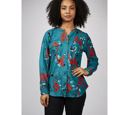 Denim & Co. Printed Y Neck Front Woven Shirt