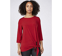 Kim & Co Brazil Knit 3/4 Sleeve Tie Front Top - 170392