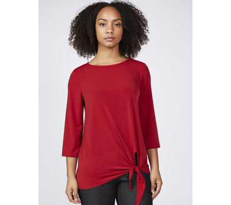 Kim & Co Brazil Knit 3/4 Sleeve Tie Front Top
