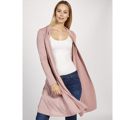 Long Sleeve Hacci Knit Duster Cardigan with Shawl Collar by Nina Leonard