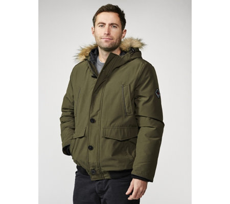 Centigrade Men's Jacket with Faux Fur Trim Hood