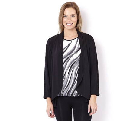 Bob Mackie 2-in-1 Swirl Print Top & Cardigan