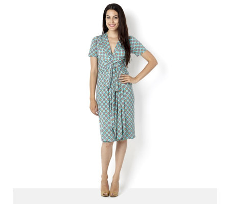 Printed Short Sleeve Wrap Dress by Onjenu London - Page 1 - QVCUK.com