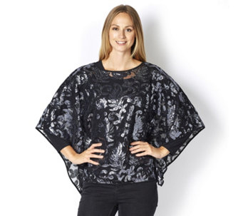 Bob Mackie Jersey Top Long Sleeve & All Over Sequin Poncho - 160694