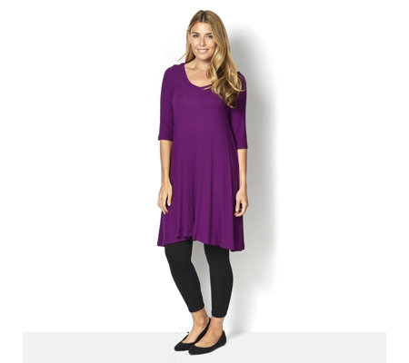 Join Clothes 3/4 Sleeve Rib Jersey Tunic Dress