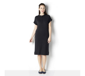 Cuddl Duds French Terry Short Sleeve 1/2 Zip Lounge Dress - 162994