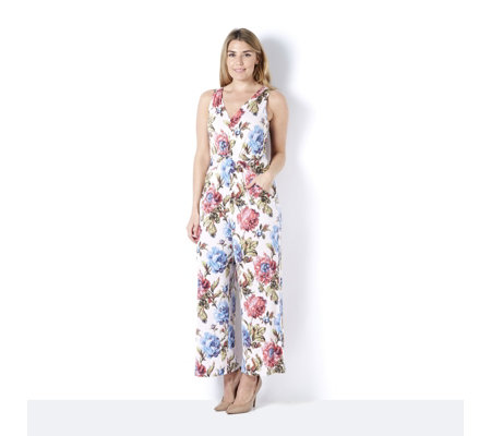 Kim & Co Printed Venechia Twist Front Wide Leg Jumpsuit Regular