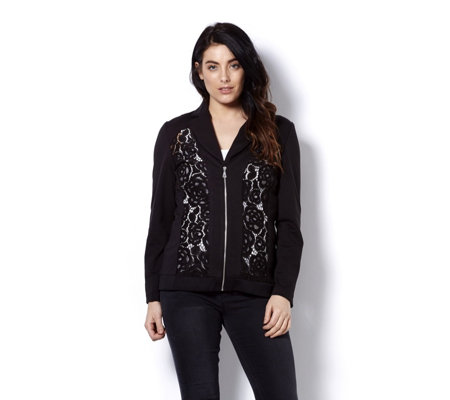 Mr Max Zip Front Ponte Jacket with Lace Trim Detail
