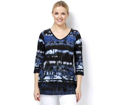 Artscapes Blue Texture Print 3/4 Sleeve V Neck Top