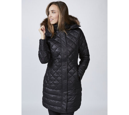 Joules Snowhill Padded Long Line Coat Faux Fur Hood