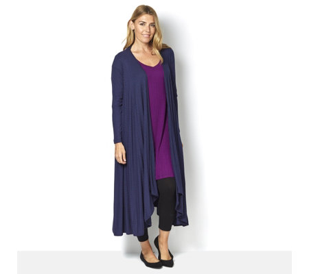 Join Clothes Rib Jersey Long Line Dip Hem Cardigan