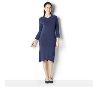 Cuddl Duds French Terry 3/4 Sleeve Wrap Hem Lounge Tunic Dress - 162995