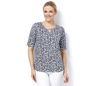Artscapes Oriental Blue Print Floral Short Sleeve Top with Keyhole Detail - 165195