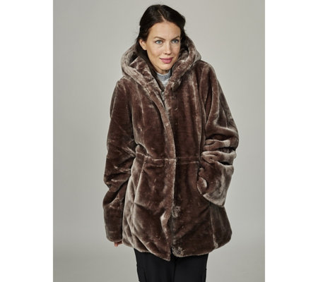 Dennis Basso Faux Fur Hooded Coat with Print Lining & Drawstring ...