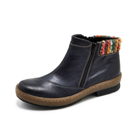 Rieker Ankle Boot with Textile Cuff