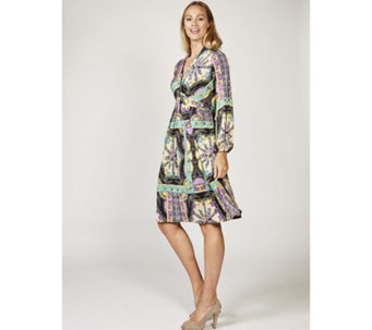 Jerry Long Sleeve Scarf Print Dress by Onjenu London - 168595