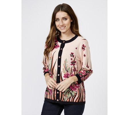 Bob Mackie Floral Placement Print Cardigan
