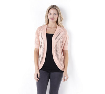 Absolutely Famous Pointelle Cardigan with Dolman Sleeve - 142296