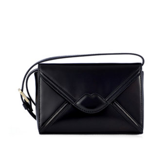 Lulu Guinness Edna Large Leather Lip Envelope Clutch - 160696