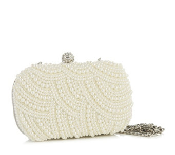 Claudia Canova Faux Pearl Detail Clutch Bag with Detachable Chain - 164796