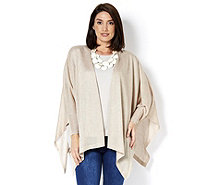 MarlaWynne Metallic Sweater Knit Box Cardigan with Side Slits - 164896