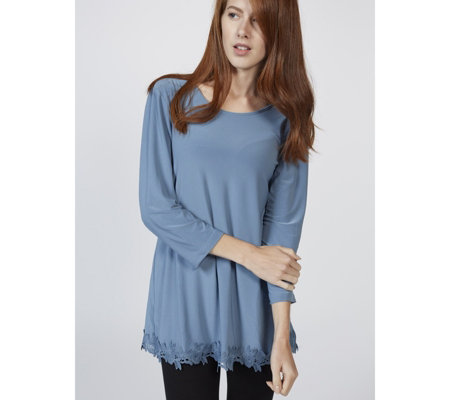 3/4 Sleeve Tunic with Back Pleat Detail & Crochet Hem by Nina Leonard