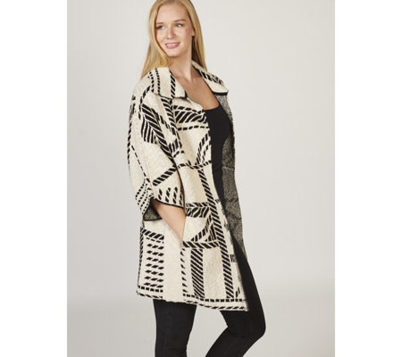 MarlaWynne Jacquard Pattern Sweater Coat