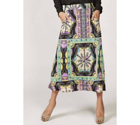 Olivia Scarf Print Maxi Skirt with Pockets by Onjenu London
