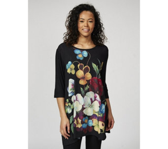 Butler & Wilson 3/4 Sleeve Flower Print Top - 172496