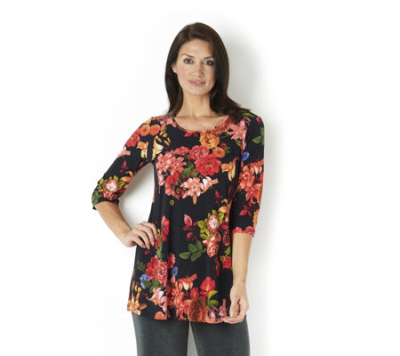 Kim & Co Rose Lilly Brazil Knit Jersey 3/4 Sleeve Tunic Flared Hem