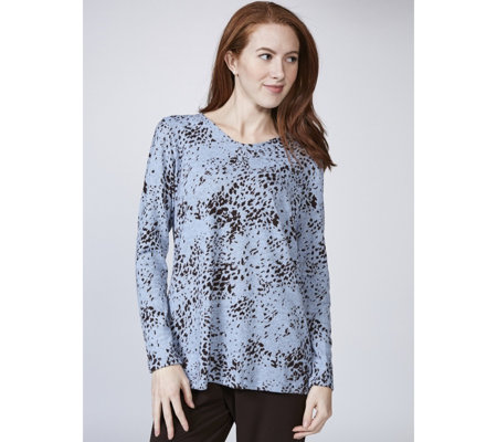 Kim & Co Soft Touch Lynx Print Long Sleeve V Neck Tunic