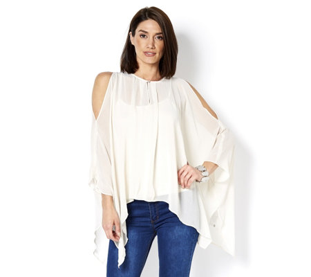 MarlaWynne Crinkle Chiffon Cold Shoulder Poncho with Keyhole Detail