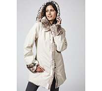 Dennis Basso Reversible Water Resistant & Printed Faux Fur Hooded Coat - 166097