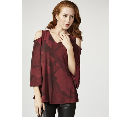 H by Halston Printed Cold Shoulder Top with Flutter Sleeves