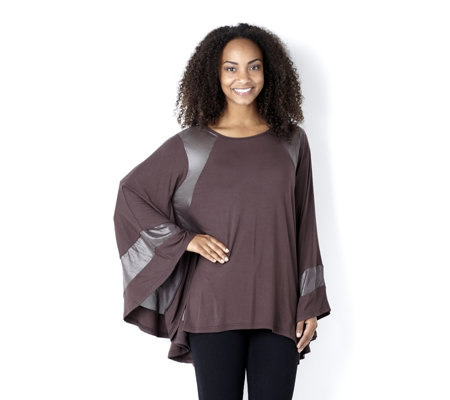 Join Clothes Cape Detail Contrast Panel Tunic