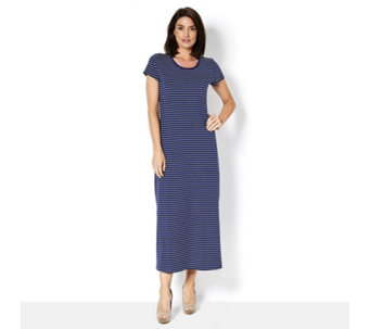 Isaac Mizrahi Live Short Sleeve Striped Maxi Dress with Side Split - 165298