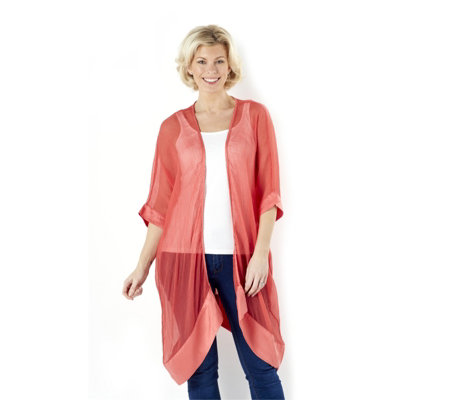Join Clothes Sheer Chiffon Silk Long Edge to Edge Cardigan