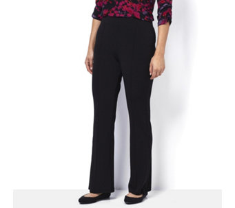 Kim & Co Silky Brazil Knit Pin Tuck Fit Flared Trousers Regular Length - 161799