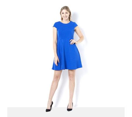 Ronni Nicole Scuba Crepe Fit Flare Dress Qvc Uk