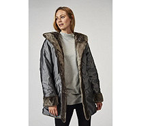 Dennis Basso Water Resistant & Faux Fur Reversible Hooded Coat - 166099