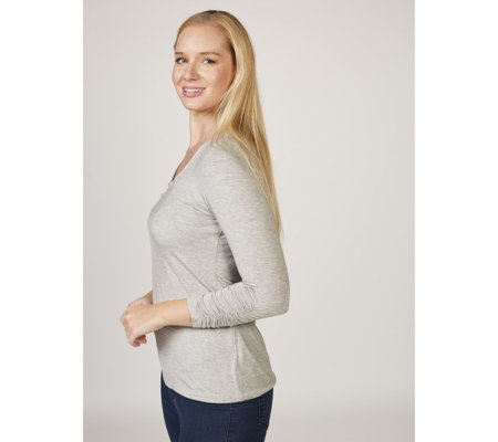 Zac & Rachel 3/4 Sleeve V Neck Top with Ruched Cuffs