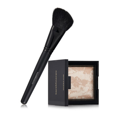 bareMinerals Invisible Glow Powder Highlighter & Blooming Blush Brush