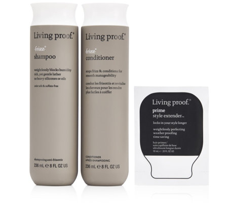 Living Proof 3 Piece No Frizz Shampoo, Conditioner & Prime Cream