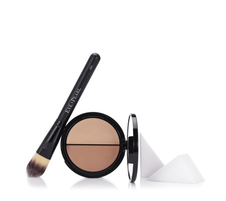 Eve Pearl 3 Piece HD Dual Foundation with Brush & 8 Sponges