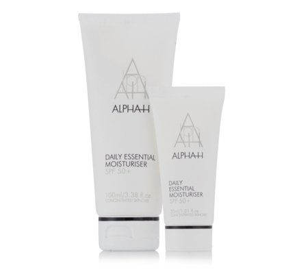 Alpha-H Daily Essential Moisturiser SPF 50 + Supersize Home& Away Duo Bag
