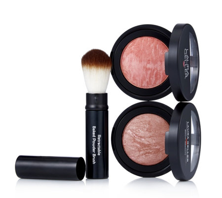 Laura Geller 3 Piece Blush-n-Brighten Duo with Brush