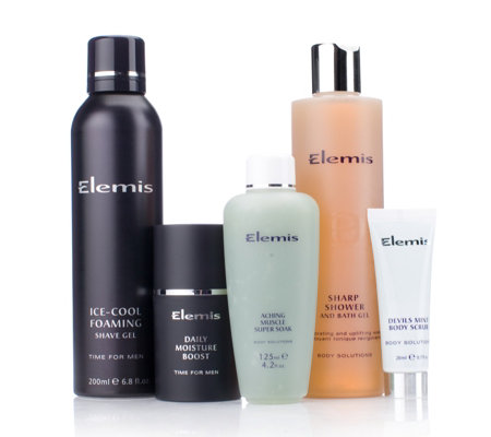 Elemis 5 piece mens bath body collection qvc uk for Mens bath set