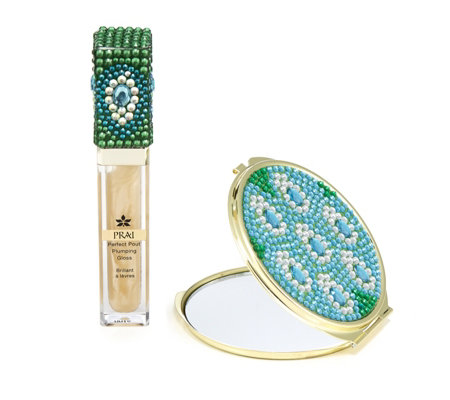 Prai 24K Gold Lip Gloss & Compact Peacock Design