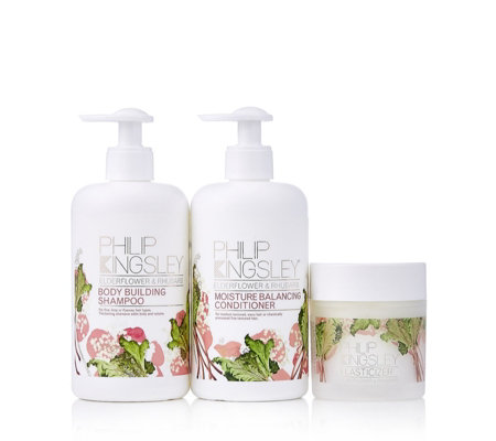 Philip Kingsley Elderflower & Rhubarb 3 Piece Hair Collection