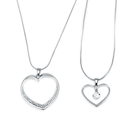 Frank Usher Set of 2 Crystal Heart Necklaces